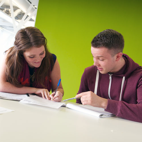 two students working in the language centre