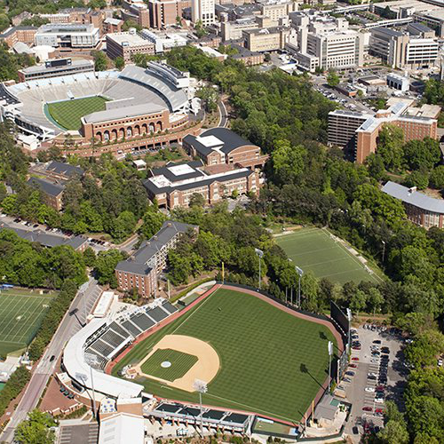 Aerial view of the University of North Carolina campus